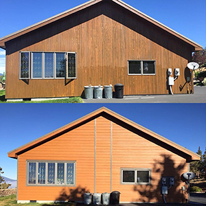 before and after photo of wood house with new siding